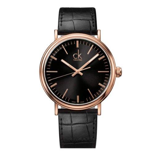 Calvin Klein ck surround K3W216C1 - Reloj analógico de cuarzo para hombre, correa de cuero color negro