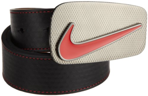 Nike Edge Stitch Belt with Laser Buckle (Black/Red, 36)