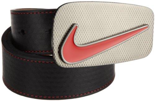 Nike Edge Stitch Belt with Laser Buckle (Black/Red, 36)