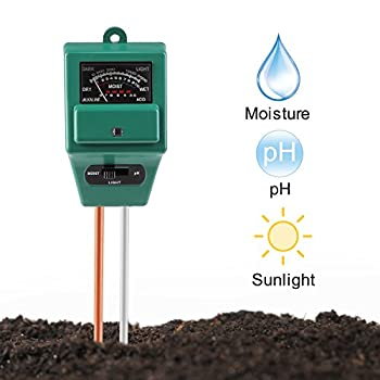 Soil pH Meter, Jellas 3-in-1 Moisture Sensor Meter / Sunlight / pH Soil Test Kits test function for Home and Garden, Plants, Farm, Indoor/Outdoor Use.