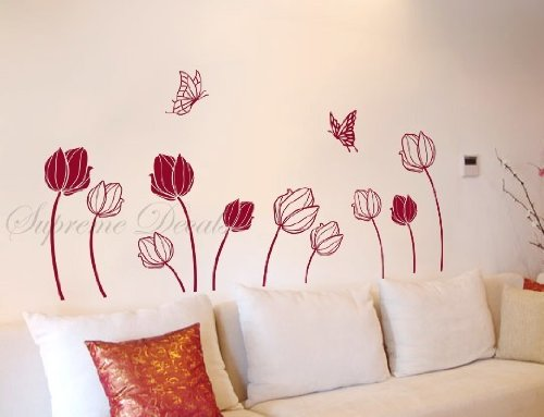 custom popdecals schmetterlinge catch tulpen beautiful. Black Bedroom Furniture Sets. Home Design Ideas