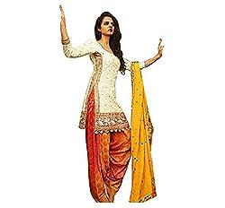 New white Orange Cotton patiyala Dress materials