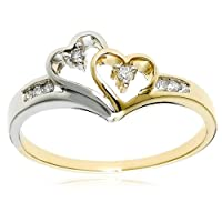 14k Two-Tone Diamond Heart Ring (1/10 cttw, H-I Color, I2 Clarity), Size 8