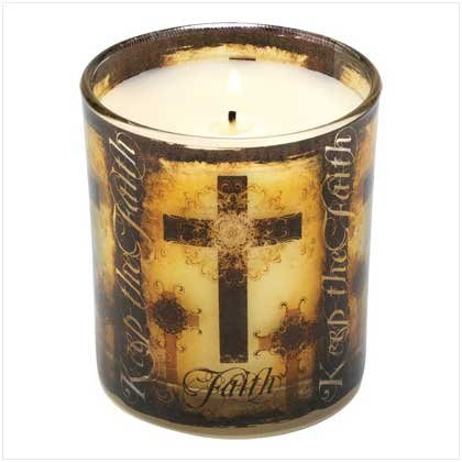 Religious Christian Keep The Faith Cross Jar Candle