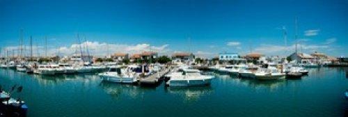 Panoramic Images - Boats docked in the small harbor Saintes-Maries-De-La-Mer Bouches-Du-Rhone Provence-Alpes-Cote d'Azur France Photo Print (45,72 x 15,24 cm)