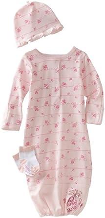 Vitamins Baby-girls Newborn Ballet Slippers 3 Piece Gown Set, Pink, 0-6 Months