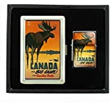 Perfection In Style Cigarette Case Oil Lighter Gift Set Vintage Poster D-052 Travel Canada For Big Game