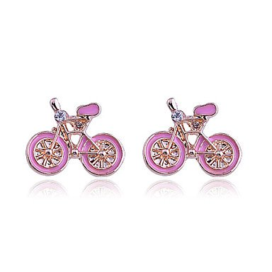 Gold Plated Bicycle Pattern Zircon Earrings(Pink)