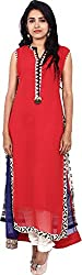 Touch Patiala Women's Georgette Regular Fit Kurta (Red, X-Large)