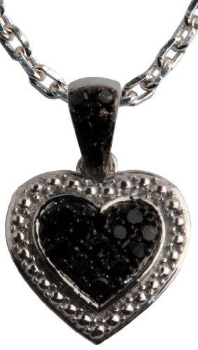 Sterling Silver Black Diamond Pendant Necklace