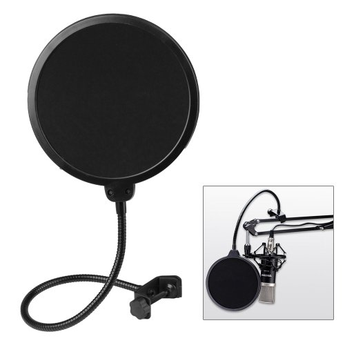 Century Accessory Flexible Studio Microphone Mic Wind Screen Pop Filter Mask Shied Black