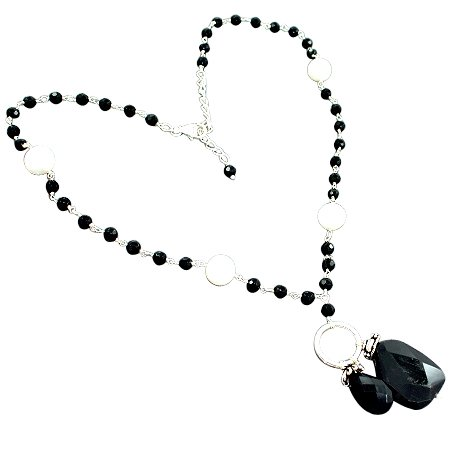 925 Sterling Silver Artisan Black Onyx South Sea Pearl Gemstone Beads Strand Necklace Size 19 Inches