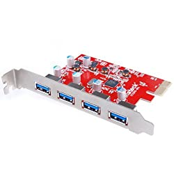 [Optimized for Mac Pro, 4 Ports] Inateck 4 Ports PCI-E to USB 3.0 Expansion Card for Mac Pro (Early 2008 to 2012 Late Version) - Interface USB 3.0 4-Port Express Card Desktop for Windows XP/7/8/ Mac OS 10.8.2 or Above - No Additional Power Connection Need