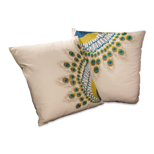 Best Selling 18-Inch Embroidered Peacock Tail Pillow, Set Of 2 front-1045168