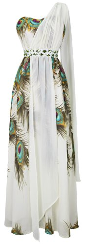 Angel-fashions Women's Stylish Floral Printed Beaded One Shoulder Maxi Dresses X-Large