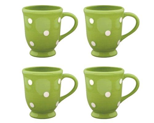 Terramoto Ceramic Polka Dots Footed Mugs, White On Moss Green, Set Of 4