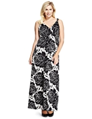 Plus Crossover V-Neck Giant Rose Print Maxi Dress