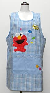 Sesame Street check large side button kitchen apron apron character Sachs 56507s (japan import)
