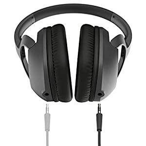 Koss UR42i Over-Ear Headphones | Detachable Cord | Built-in Splitter | Includes Cord with in-Line Microphone & Remote | Black (Color: Black)