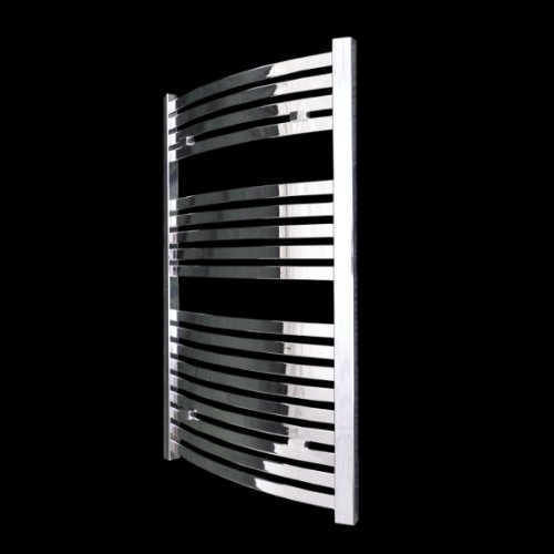 Torino Curved Chrome Heated Bathroom Towel Rail Radiator 1000 x 600 mm