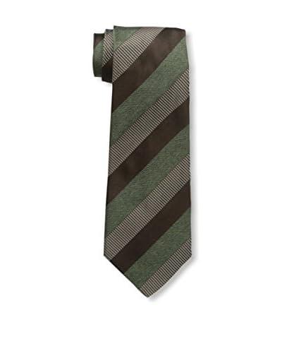 Kiton Men's Striped Tie, Brown/Green