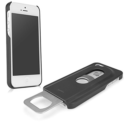 iPhone SE Case, BoxWave® [DrinkMate Case with BONUS Keychain Charger] Novelty Phone Cover with Retractable Bottle Opener for Apple iPhone SE, 5s, 5 - Jet Black