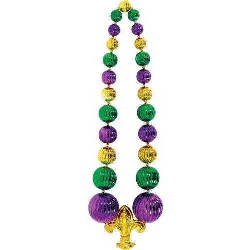[Amscan Mardi Gras Giant Fleur-de-Lis Bead Necklace (1 Piece), Multi Color, 31 x 9.3 by Amscan] (Jumbo Mardi Gras Beads)