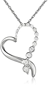 Sterling Silver Ribbon Heart Diamond Pendant Necklace (1/4 cttw, I-J Color, I2-I3 Clarity), 18""