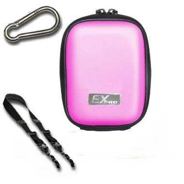 Ex-Pro Clam Digital Camera Case Bag - PINK - for Fuji Cameras - Clam shell rugged finish, soft inside for protection, including should strap, carabina belt clip for easy carry. Case dimensions listed in specifications.
