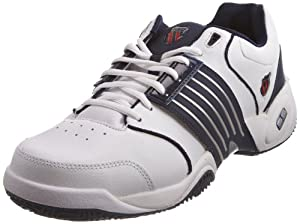 K-Swiss ACCOMPLISH LS~WHITE/NAVY~M 01805-109-M - Zapatillas de tenis de cuero para hombre, color blanco, talla 49