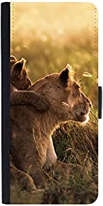 Snoogg Cubs And Lions Designer Protective Phone Flip Case Cover For Apple Iphone 5 / 5S