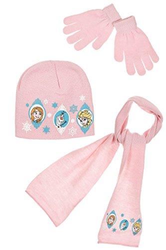 Sciarpa, cuffia e guanti, per bambini, da ragazza, motivo: Frozen, La regina delle nevi, 3 colori, da 3 a 9 anni rosa rosa 54 (6-9 ans)
