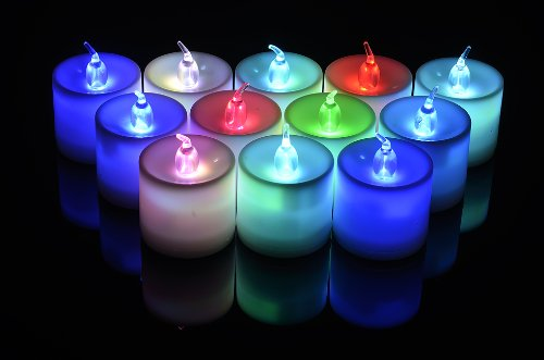 Large Rgb (Color Changing) Led Battery Operated Candles (12 Pack)