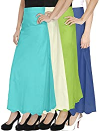 Ngt Pure Cotton Mehndi Green, Sky Blue, White And Royal Blue Petticoat/Underskirt For Womens.