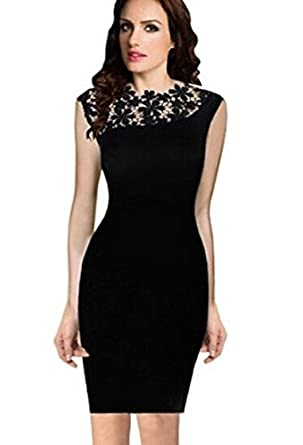 Slim Pencil Vestidos Crochet Elegant Dress XX-Large: Amazon Fashion