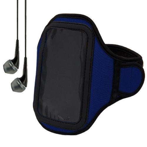 Blue Sumaclife Neoprene Hardcore Workout Armband For Samsung Brightside / Samsung Galaxy Y Pro Duos / Samsung Galaxy Y Duos / Samsung Galaxy S Wifi 4.2 / Samsung Galaxy S Blaze 4G (Samsung Sgh-T769) + Black Handsfree Headphones With Mic + Includes!!! Suma