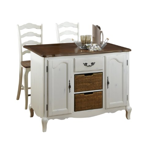 Home Styles 5518-948 The French Countryside Kitchen Island And 2 Stools, Oak/Rubbed White front-745024