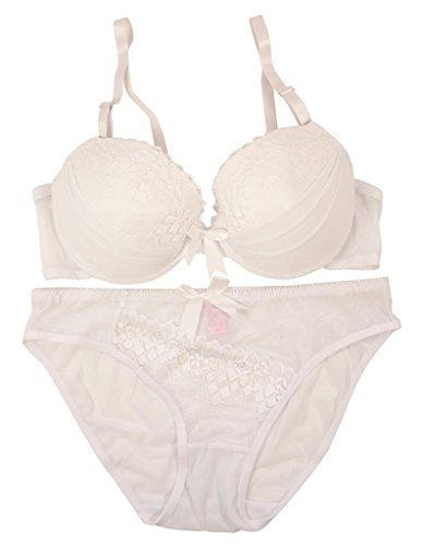 88bd3436f4 2-Pc Women s Lacy Lace Push-Up Bra   Panties Set - White 34B. by paris pink