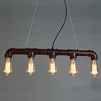 ONEPRE Industrial Steampunk Ceiling Pendant Light Chandeliers with Vintage Edison Bulb, Retro Rustic Red Color, 5 Lights Metal Water Pipe Country Rustic Lamp Hanging Lighting