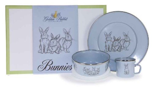 Golden Rabbit Enamelware 3 Piece Child Set, Blue Bunnies, Gift Boxed