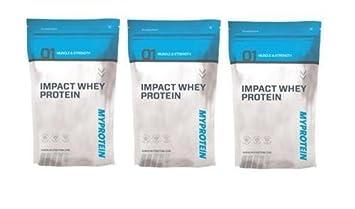 Myprotein Impact Whey Protein 3 x 1000g Beutel 3er Pack Natural Erdbeer