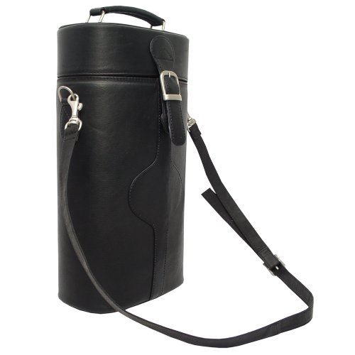 Piel Leather Double Deluxe Wine Carrier, Black, One Size picture