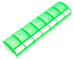 Survive Vitamins 7 day pill organizer is the push button plastic pills box case in translucent green color pill holder