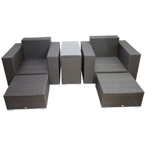 outsunny 5pc outdoor pe rattan wicker lounge chair patio furniture set outdoor patio furniture zone outdoor patio furniture zone