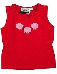 Wild Mango - Baby Girls Ribbed Sleeveless Top, Red, Pink 7679-12Months