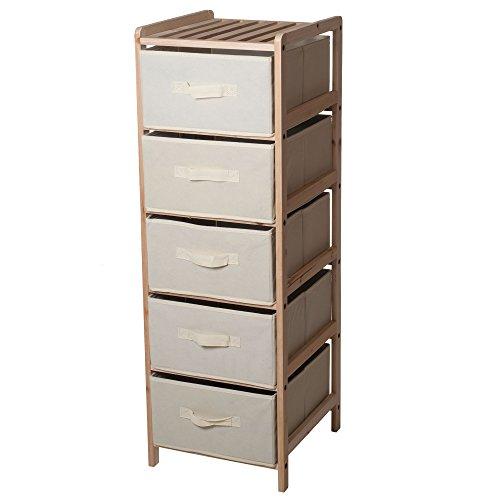 Lavish Home Organization Wood Fabric Five Drawer Unit with Shelf Top