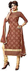 Manmauj Women's Cotton Unstitched Dress Material (MM10044DLKD, Tan)