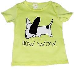 TheTickleToe Kids Boys Girls T-shirt Shirt Cotton Summer Dog Printed Yellow T-shirt 4-5 Years