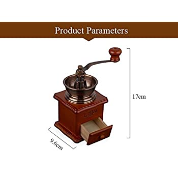 Manual Vintage Bronze Coffee Grinder Household Retro Wood Coffee Mill With Procelain Movement Bean Grinder
