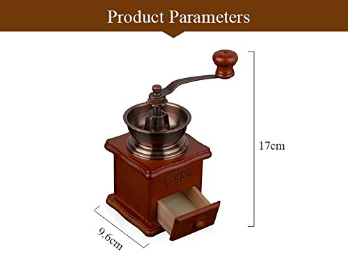 Manual Vintage Bronze Coffee Grinder Household Retro Wood Coffee Mill With Procelain Movement Bean Grinder 1